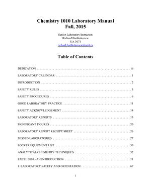 Chem 1010 Lab Manual F15 Chem1010u Chemistry I Studocu