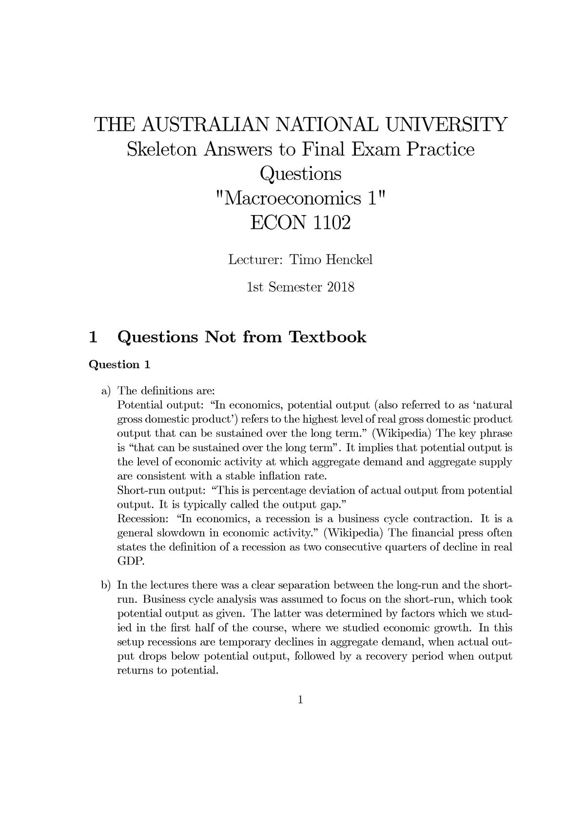 Final Exam 2018, questions and answers - Macroeconomics 1 ...