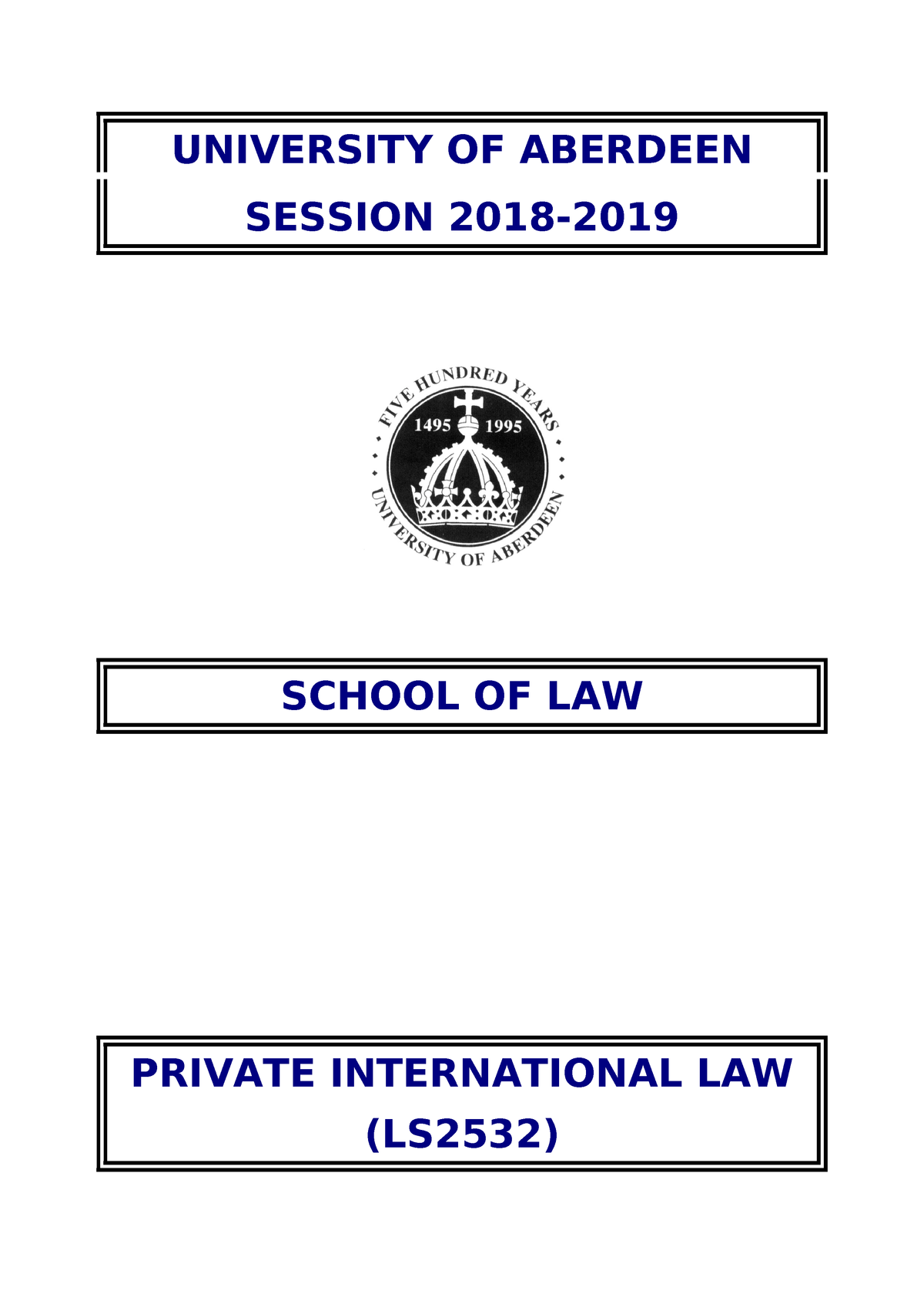 Ls2532 handout 2018-2019 - Private International law - Abdn