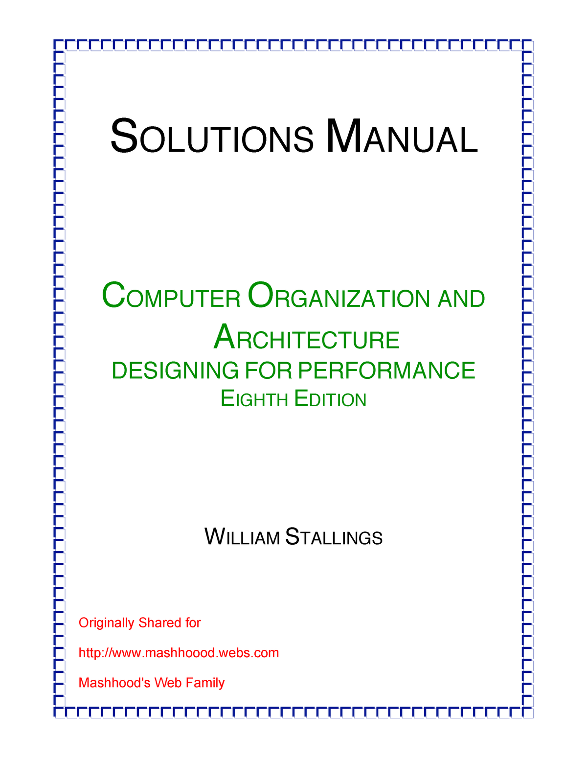 Computer Organization And Architecture 8th Edition Solution Manual Studocu