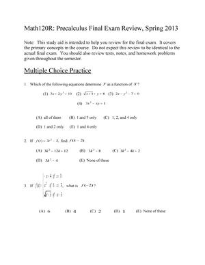 Math 120 Final Exam Review - MATH 120R: Calculus Preparation - StuDocu