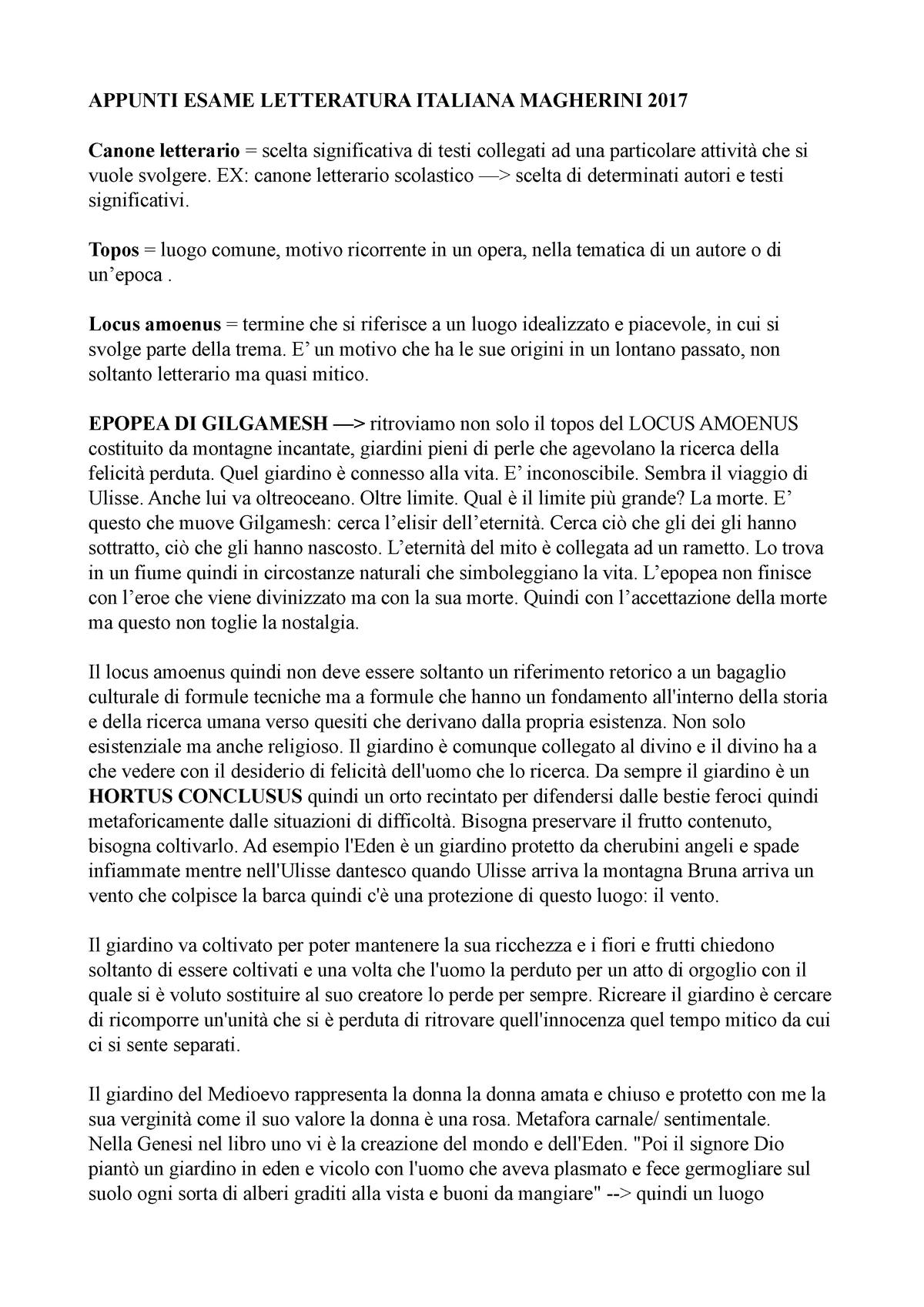 Appunti-Magherini - Appunti tutte - B004638: Letteratura