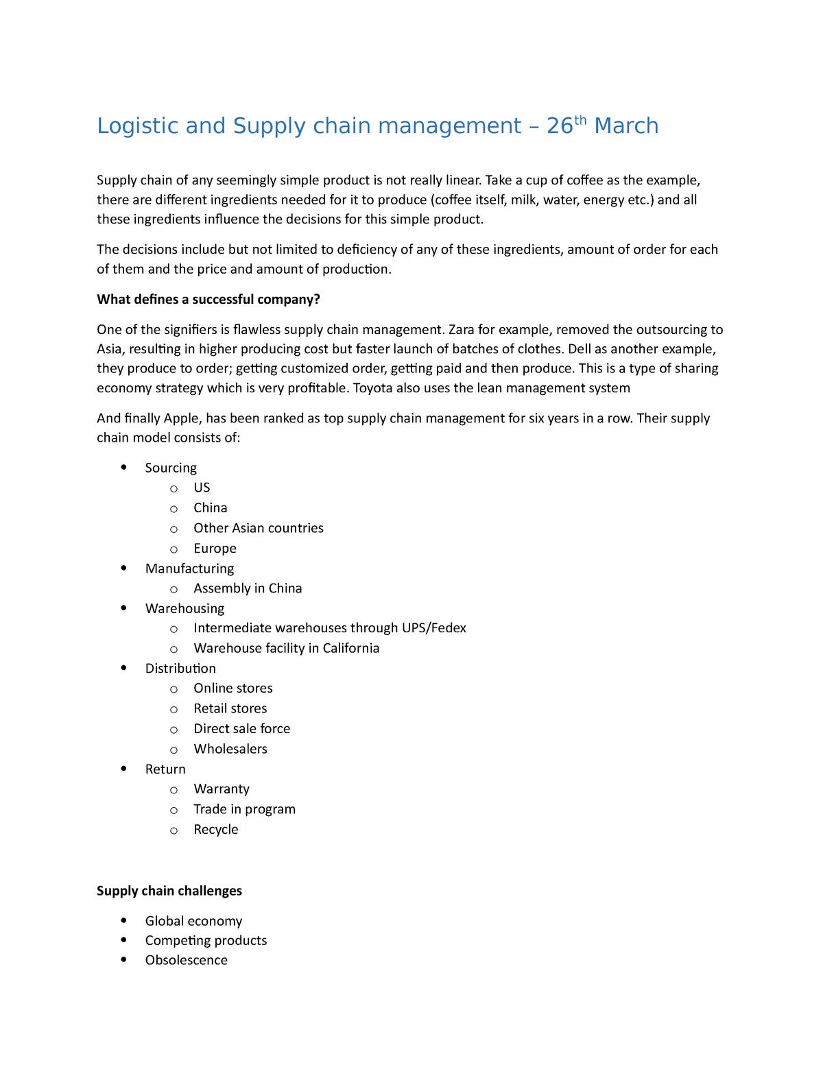01-Logistic and Supply chain management - TEK285: Logistics