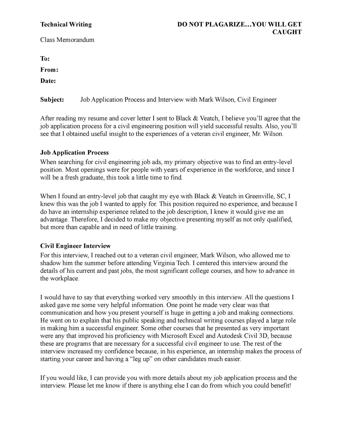 Job Packet Memo - Reece Williams - ENGL3764 - Virginia Tech