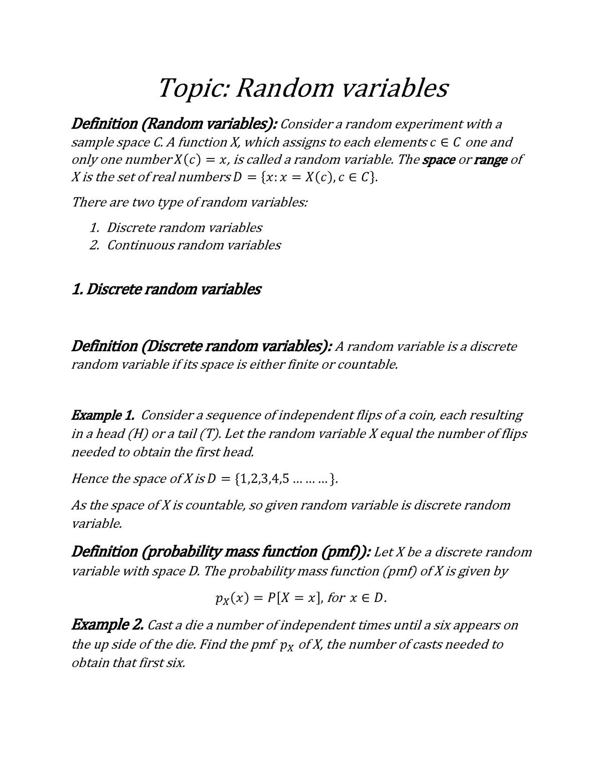 Random variables - Probability and Statistics GEHT-404 - StuDocu