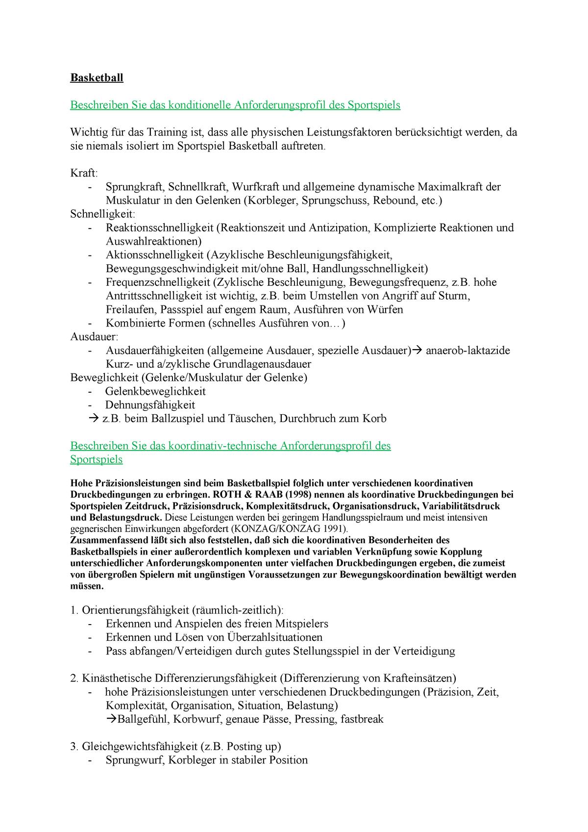 Klausur, Fragen und Antworten - Basketball - Uni Giessen