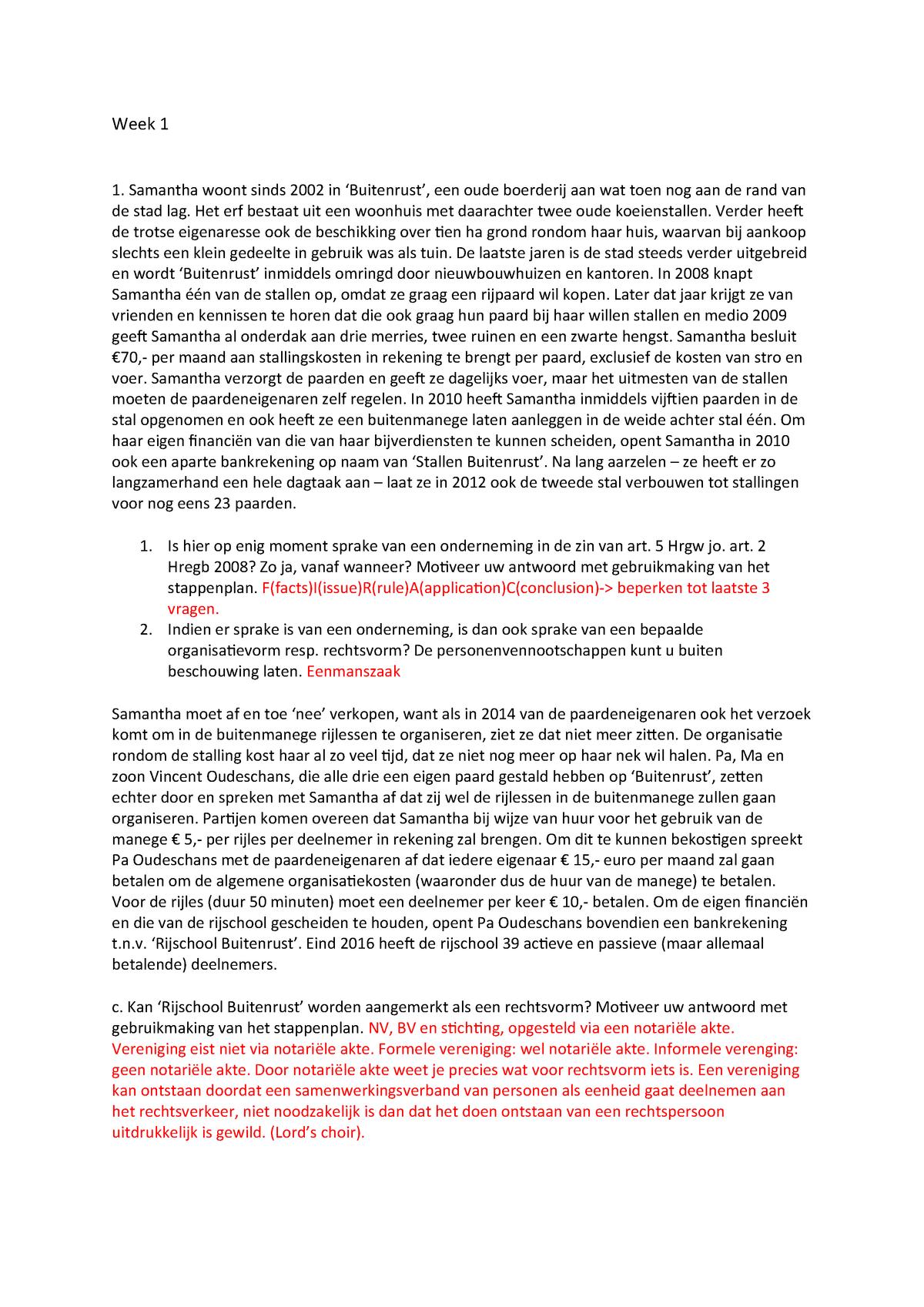 Werkgroep Week 1 Or Onderneming En Recht 22014002 Studocu