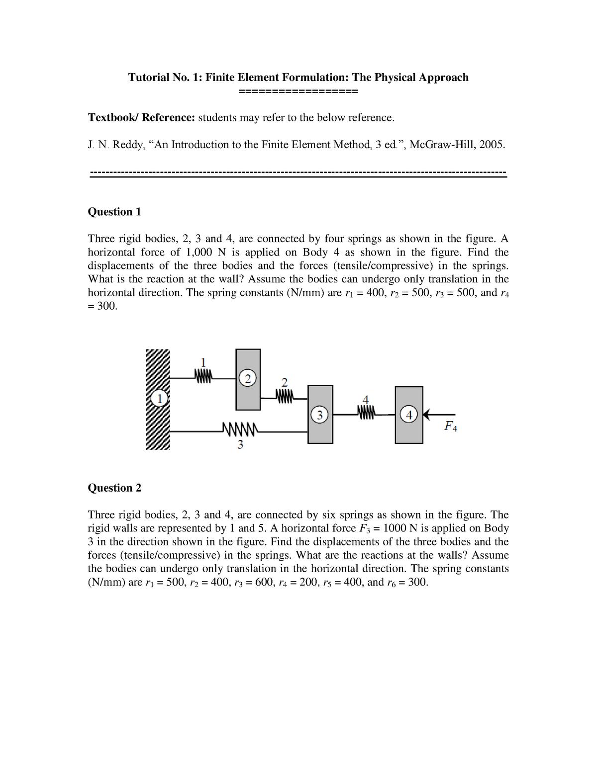 147693 Tutorial 1 - EME4086: Finite Element Method - StuDocu