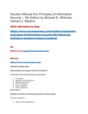 Solution Manual For Principles Of Information Security 5th Edition