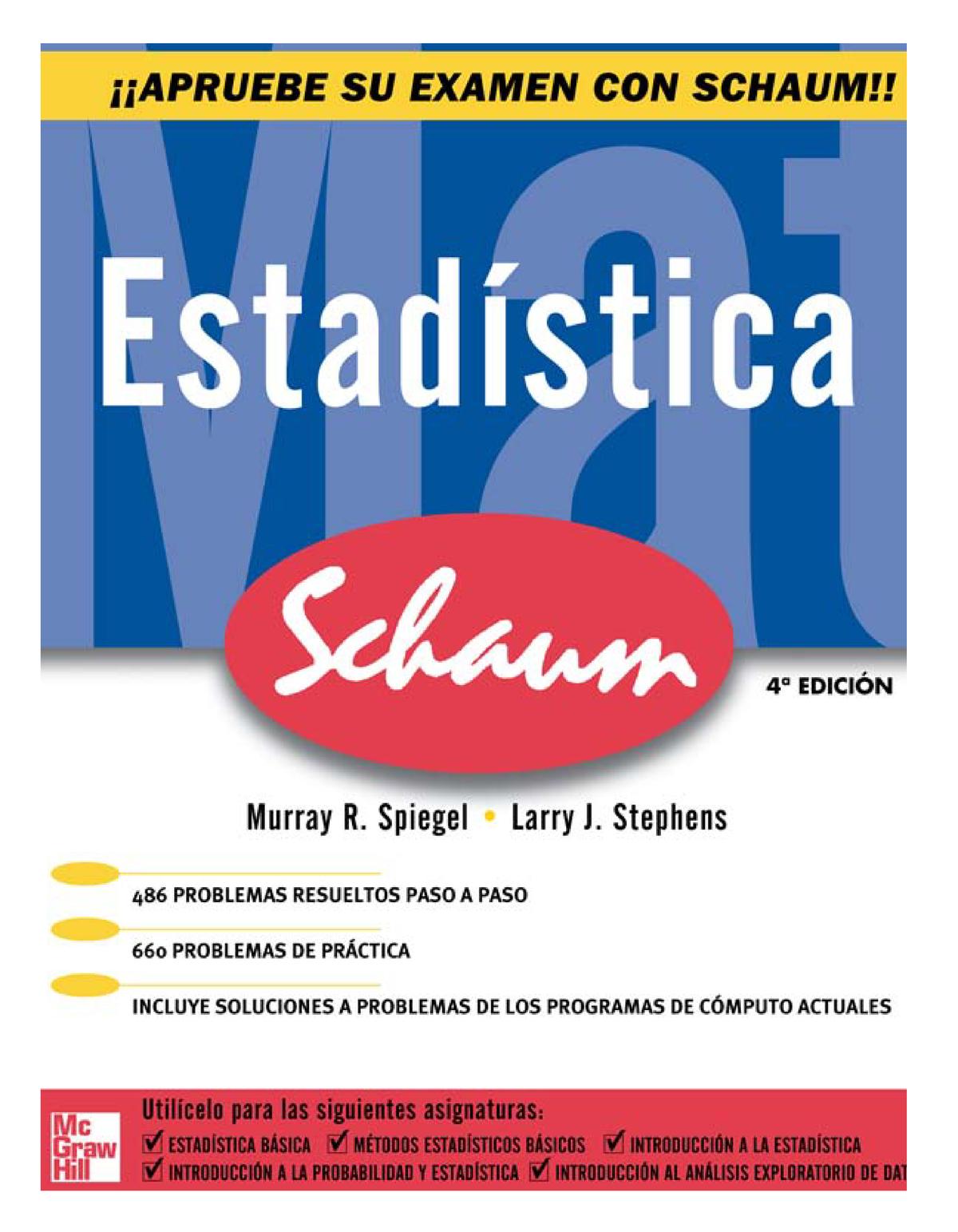 Estadística Serie Schaum 4ta Edición Murray R Spiegel