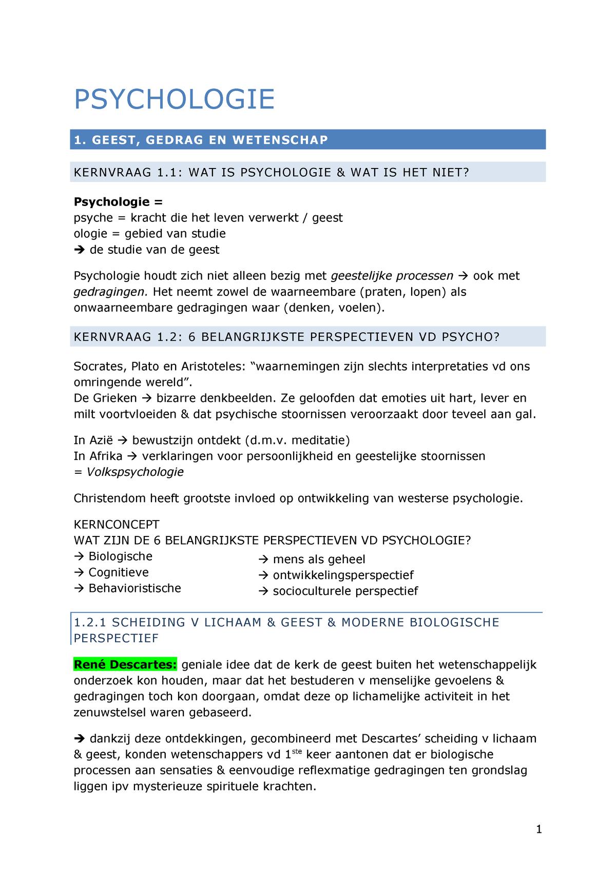 Samenvatting Psychologie de Essentie - Psychologie - StuDocu