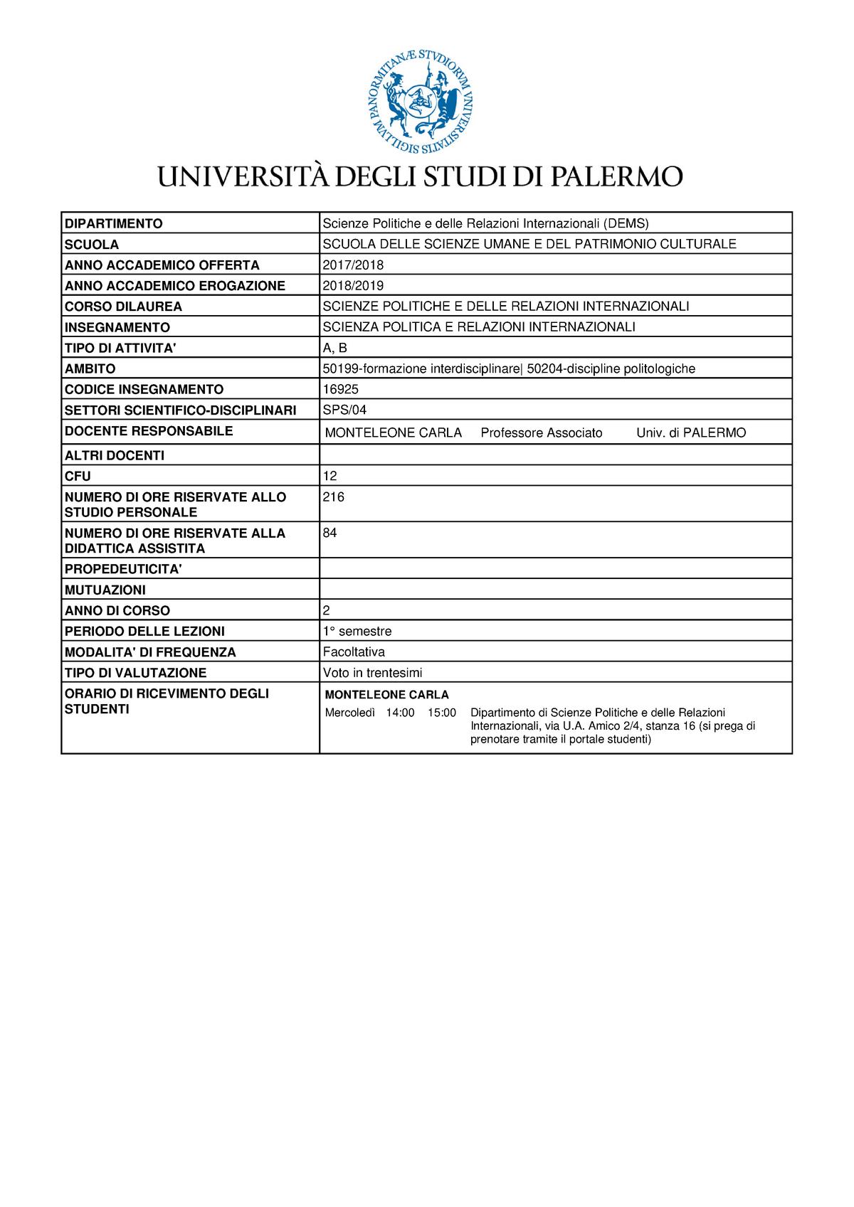 Calendario Didattico Unipa Scuola Delle Scienze Umane.Scienza Politica E Relazioni Internazionali 16925 Unipa