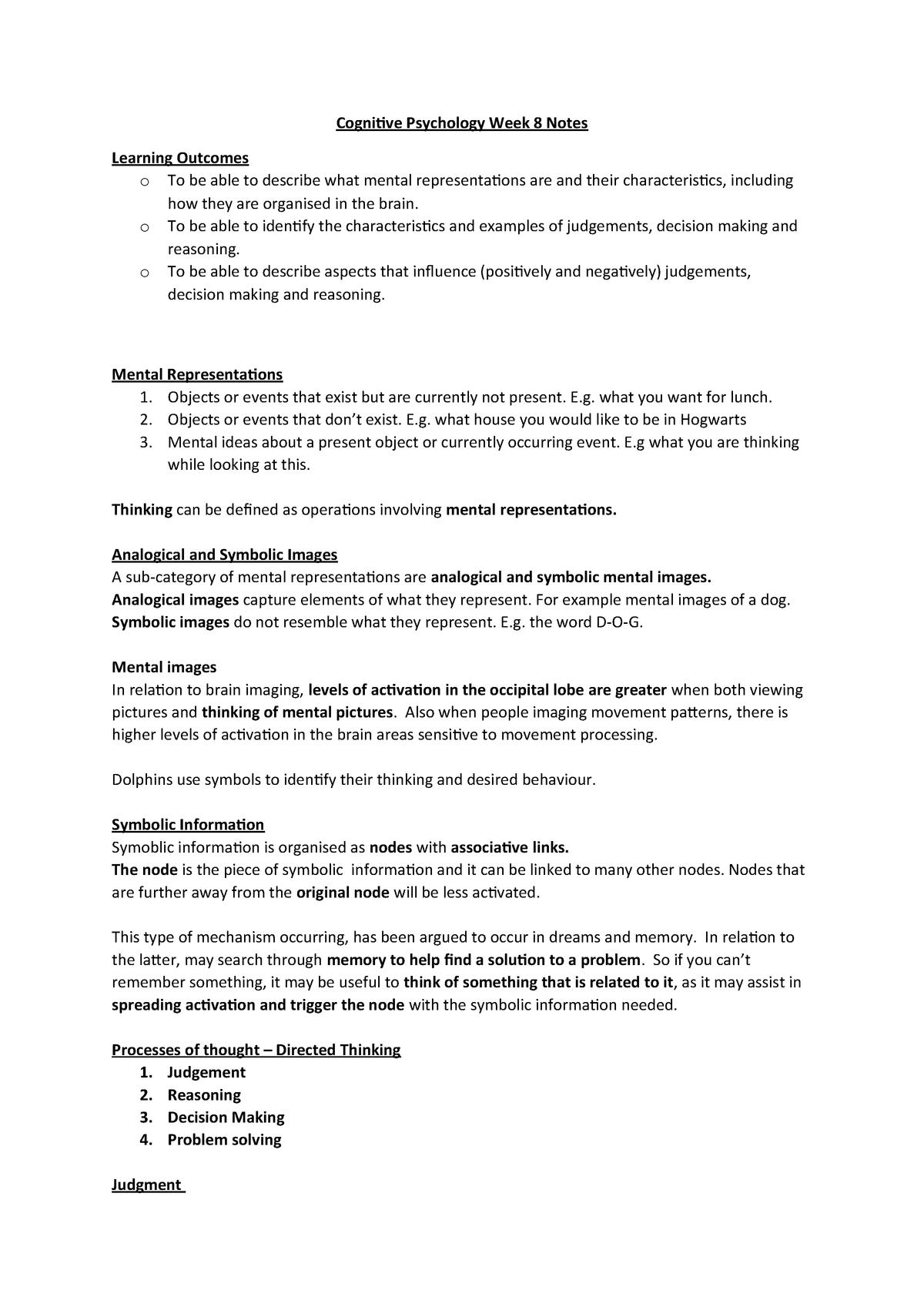 Cognitive Psychology Week 8 Notes - PS1009 - Abdn - StuDocu