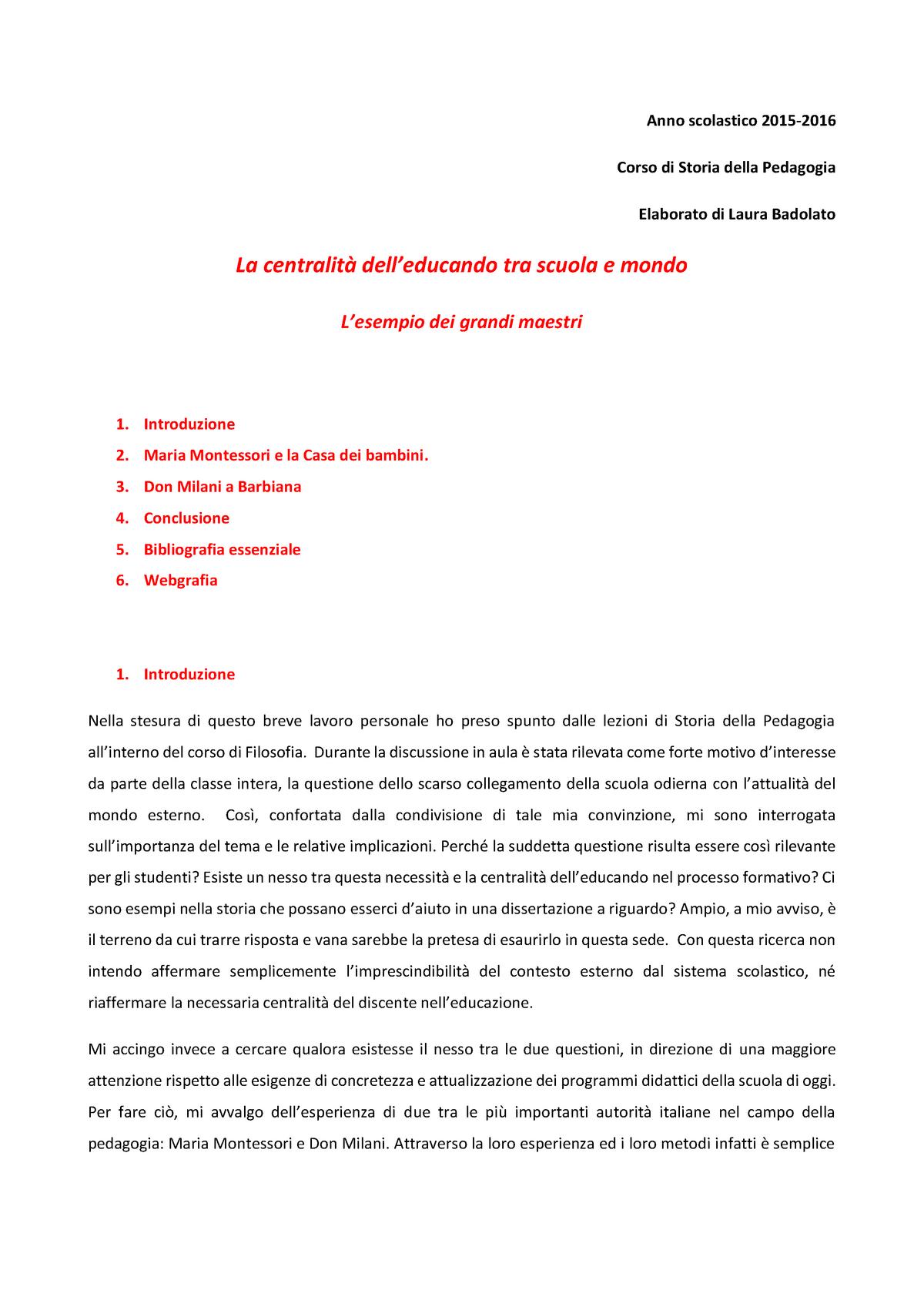 Tesina Montessori Grade 8 Storia Della Pedagogia Lm