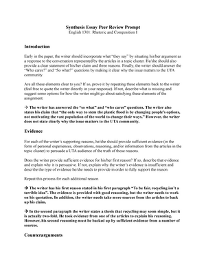 synthesis essay peer review prompt    engl    studocu