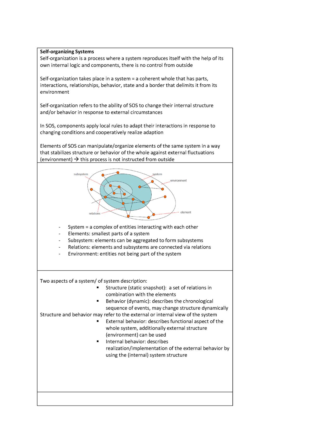 SOS Summary - Zusammenfassung Self-Organizing Systems - StuDocu