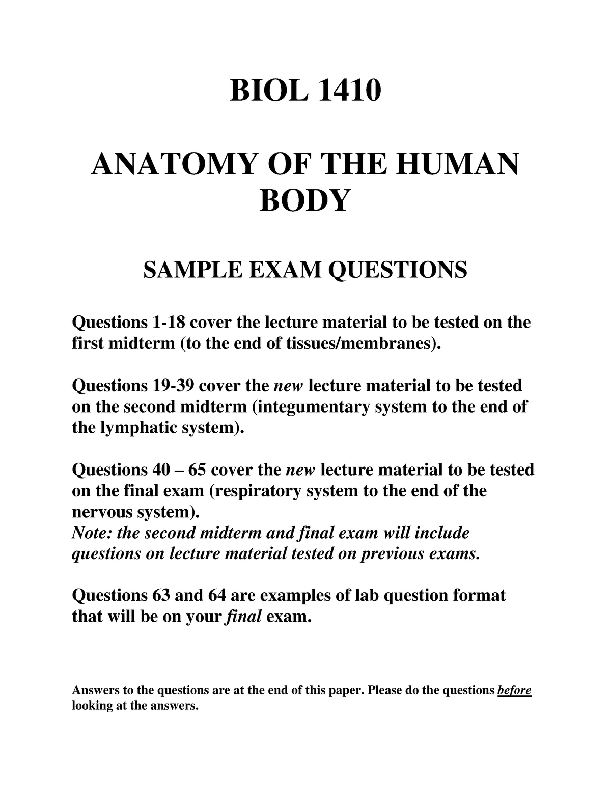 Sample/practice exam 2015, questions and answers - BIOL1410