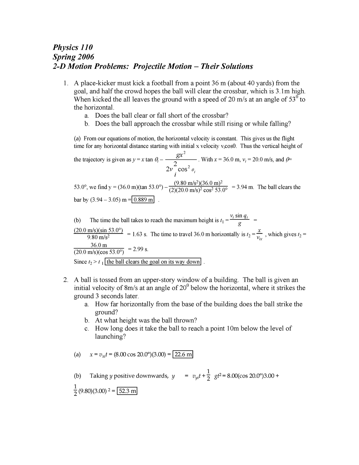 2 D Motion Problems Solutions - EE: Electrical Engineering - StuDocu