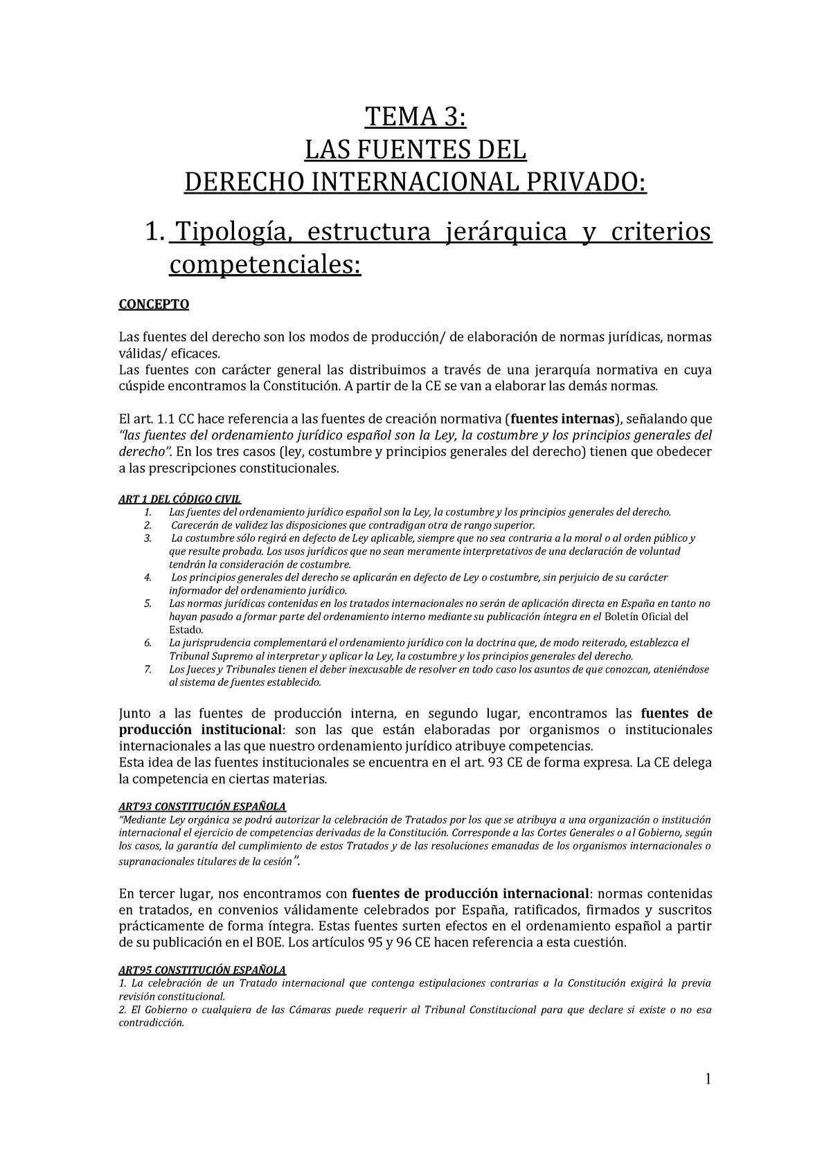 Tema 3 Las Fuentes Del Derecho Internacional Privado Studocu