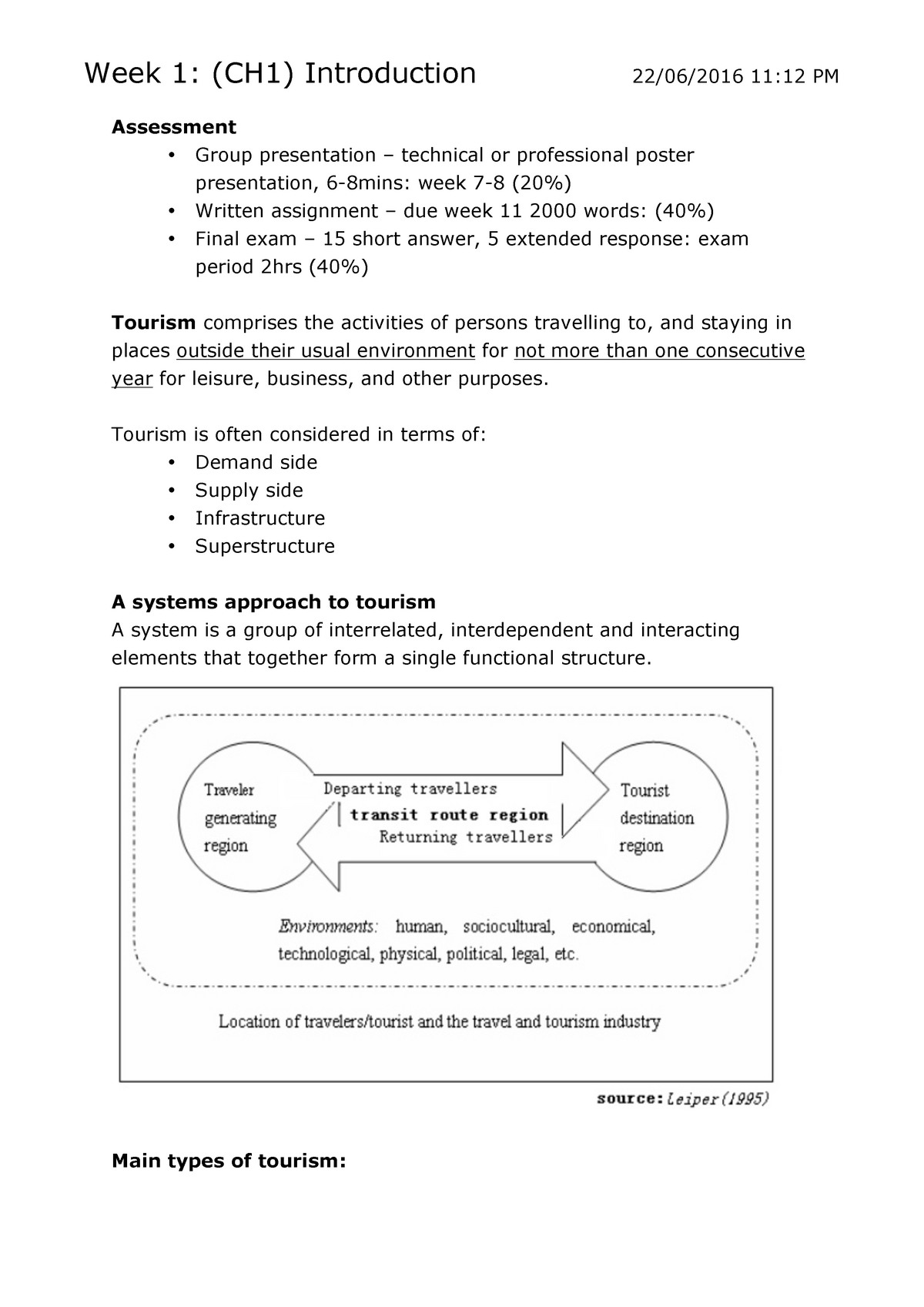 Sustainable Tourism - Lecture notes, lectures 1 - 12