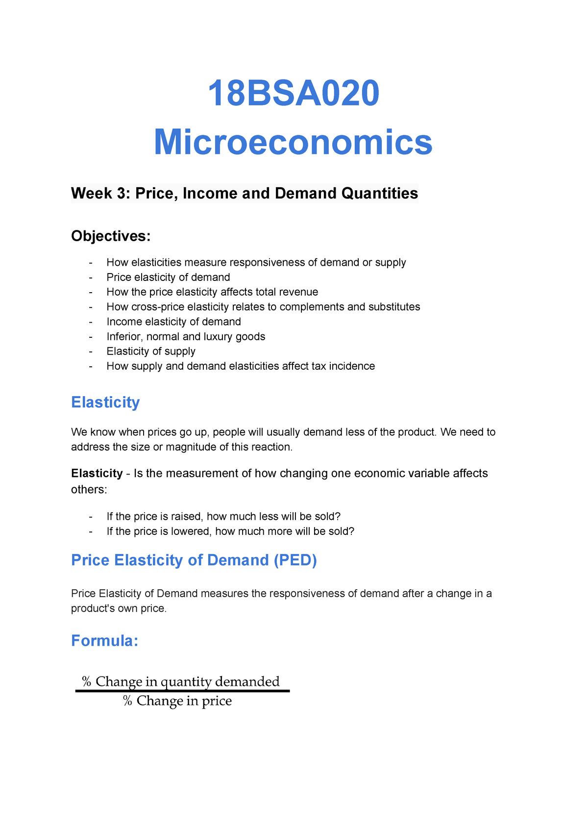 Price Income And Demand Quantities 17bsp021 Lough Studocu