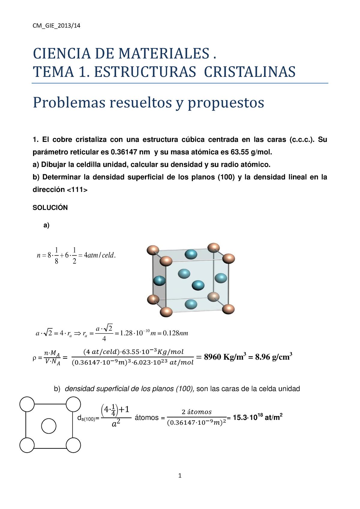 Práctico Tema 1 Estructuras Cristalinas Problemas
