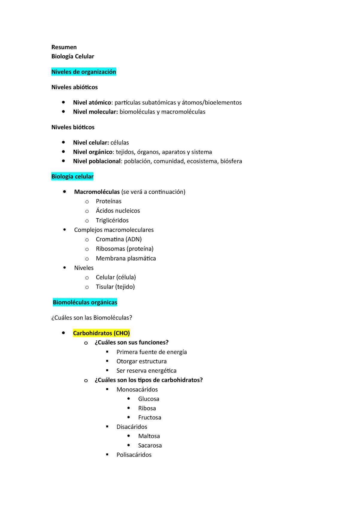 Resumen Biología Celular Upla Studocu