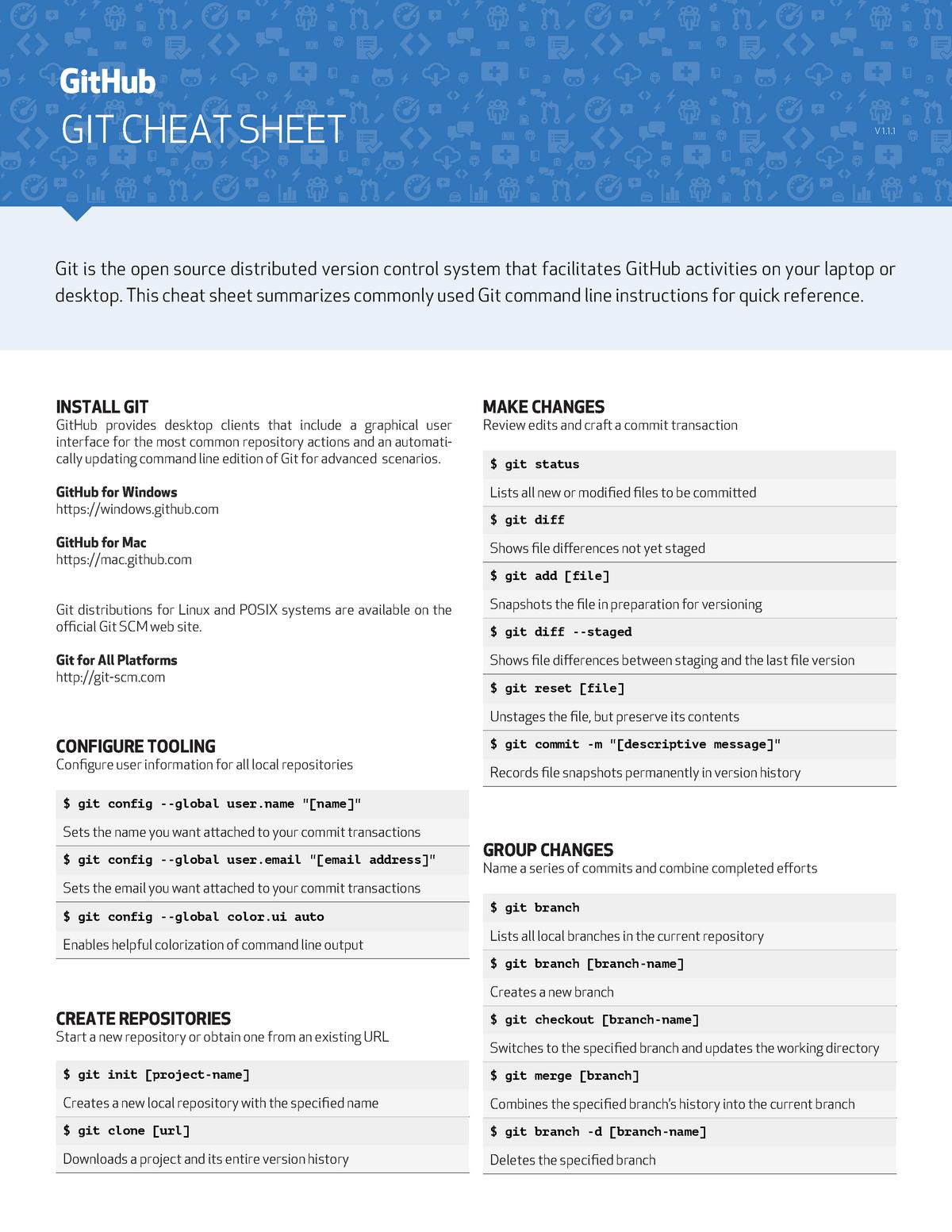 Github git cheat sheet - Git commands summary - Bachelor of