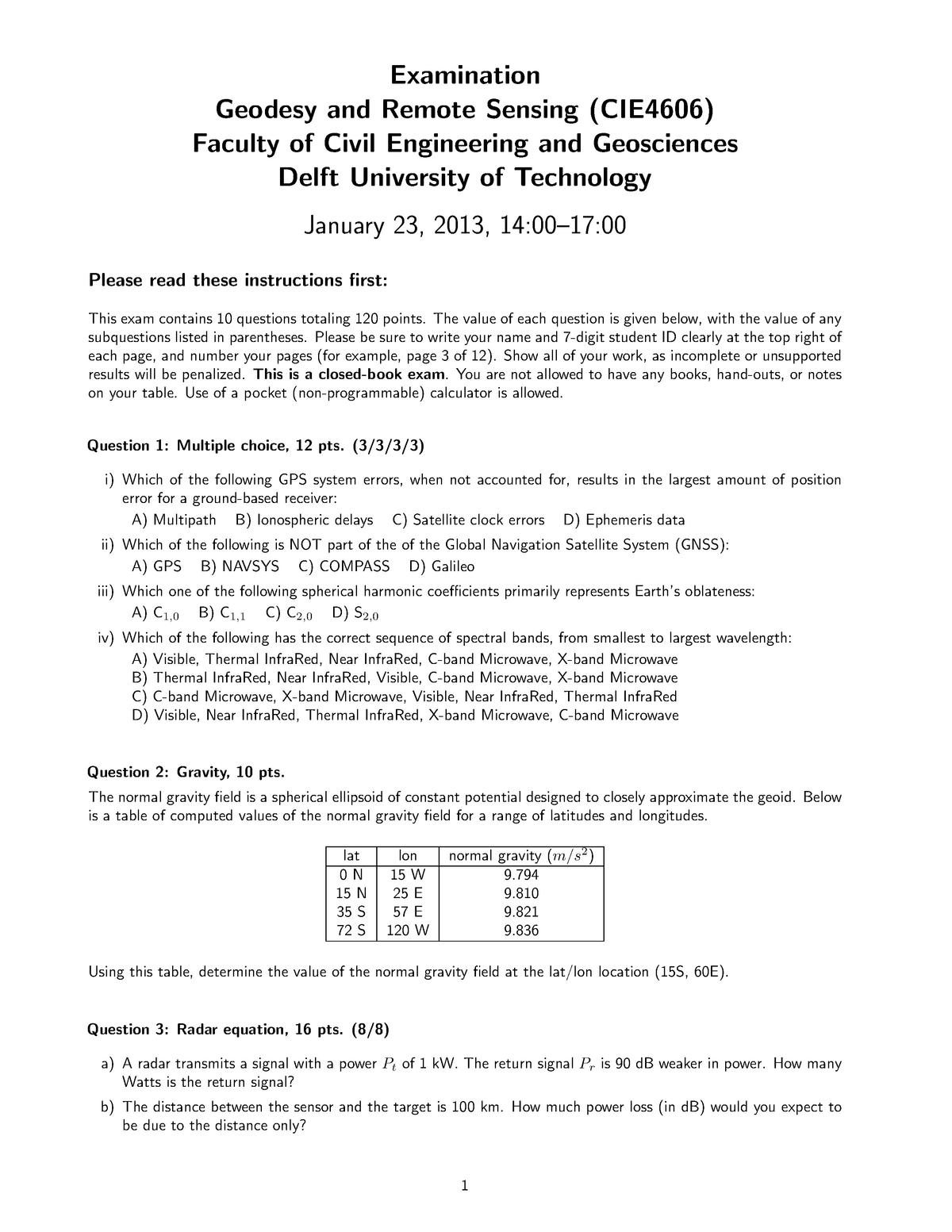 Exam cie4606 2013-01-23 delft - CIE4606: Geodesy and Remote Sensing