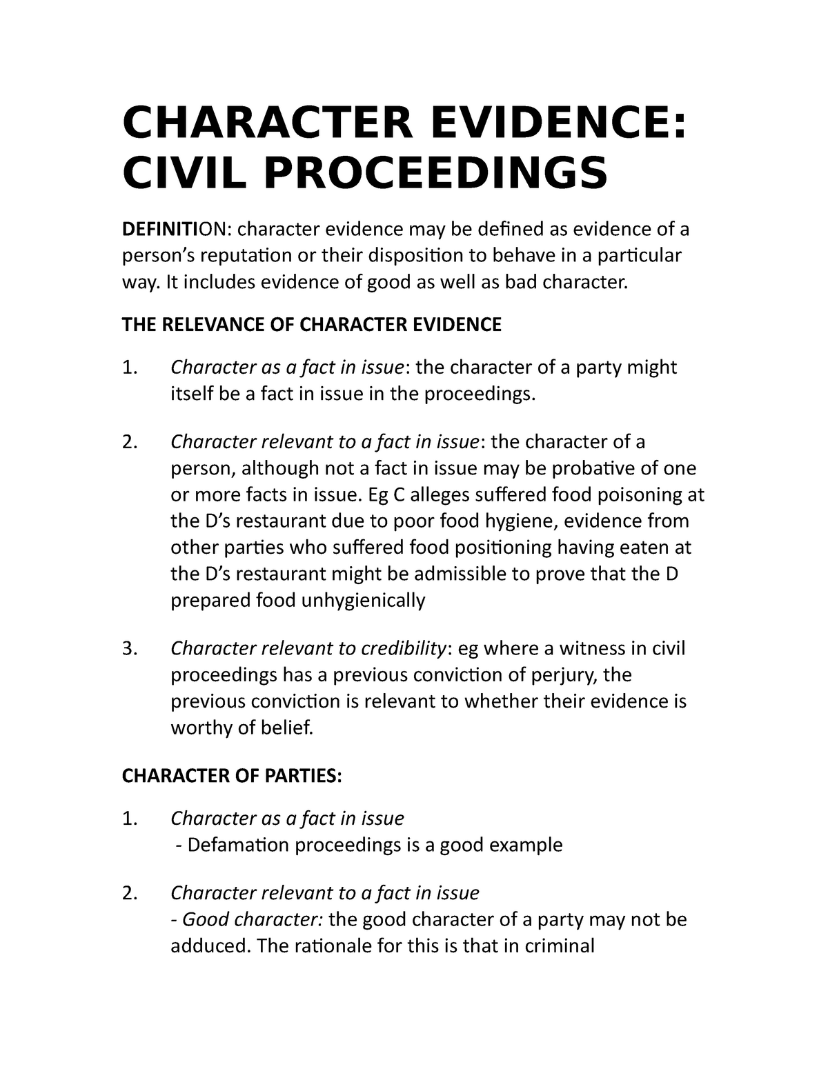 Character evidence 2015 - M100: Law - StuDocu