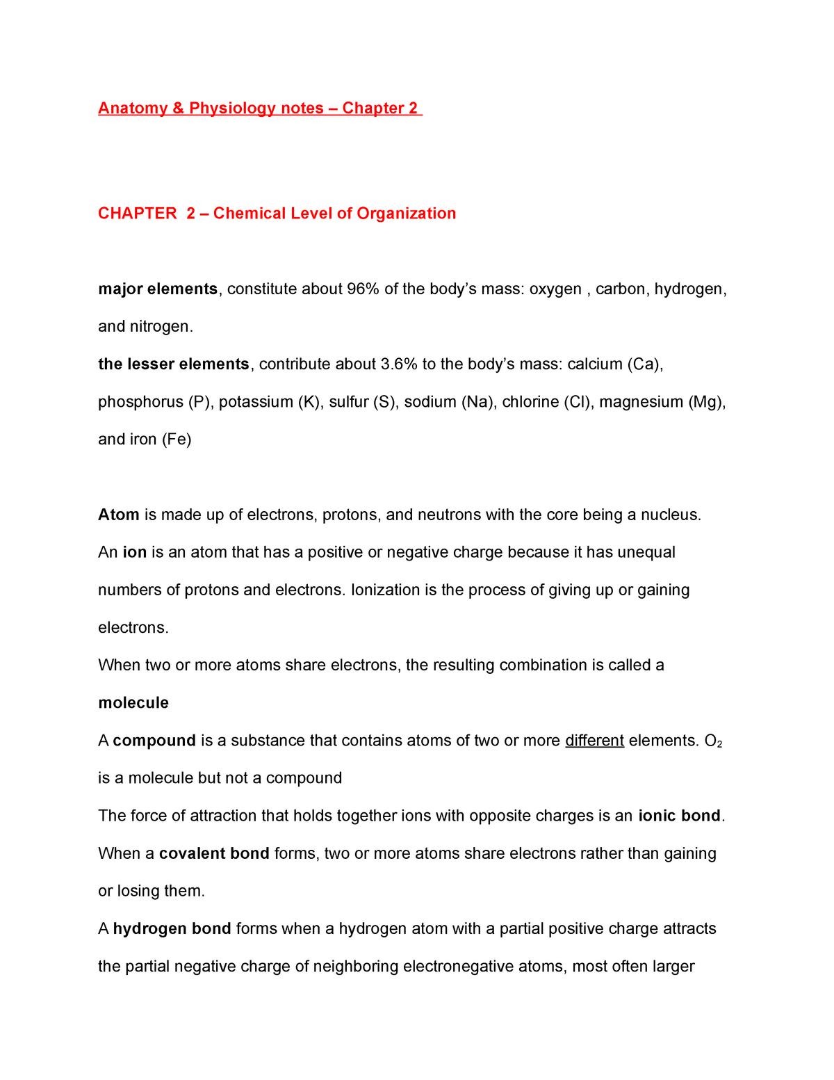 Anatomy & Physiology Chapter 2 - BIOL 235 Biology - AU - StuDocu