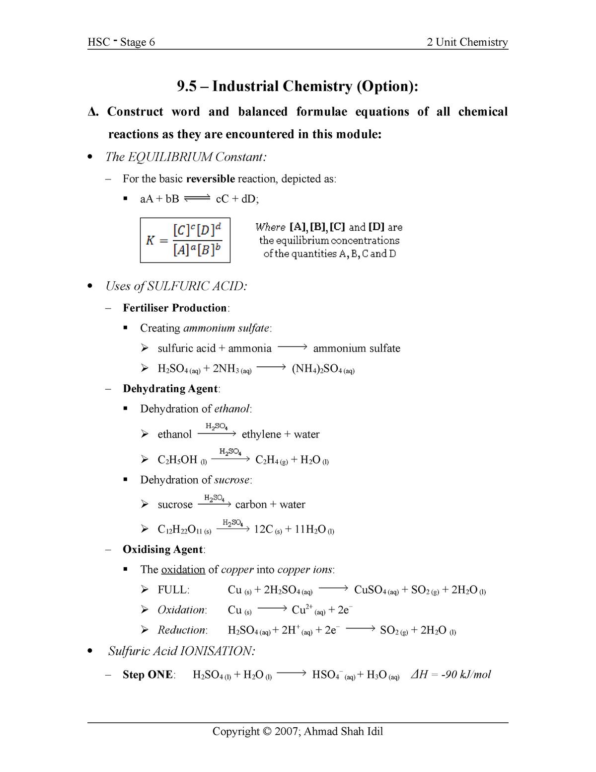 industrial chem - Chemistry 1 065111 - StuDocu
