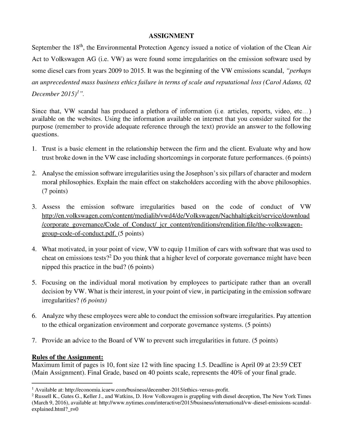Seminar assignments - Assignment Volkswagen, questions
