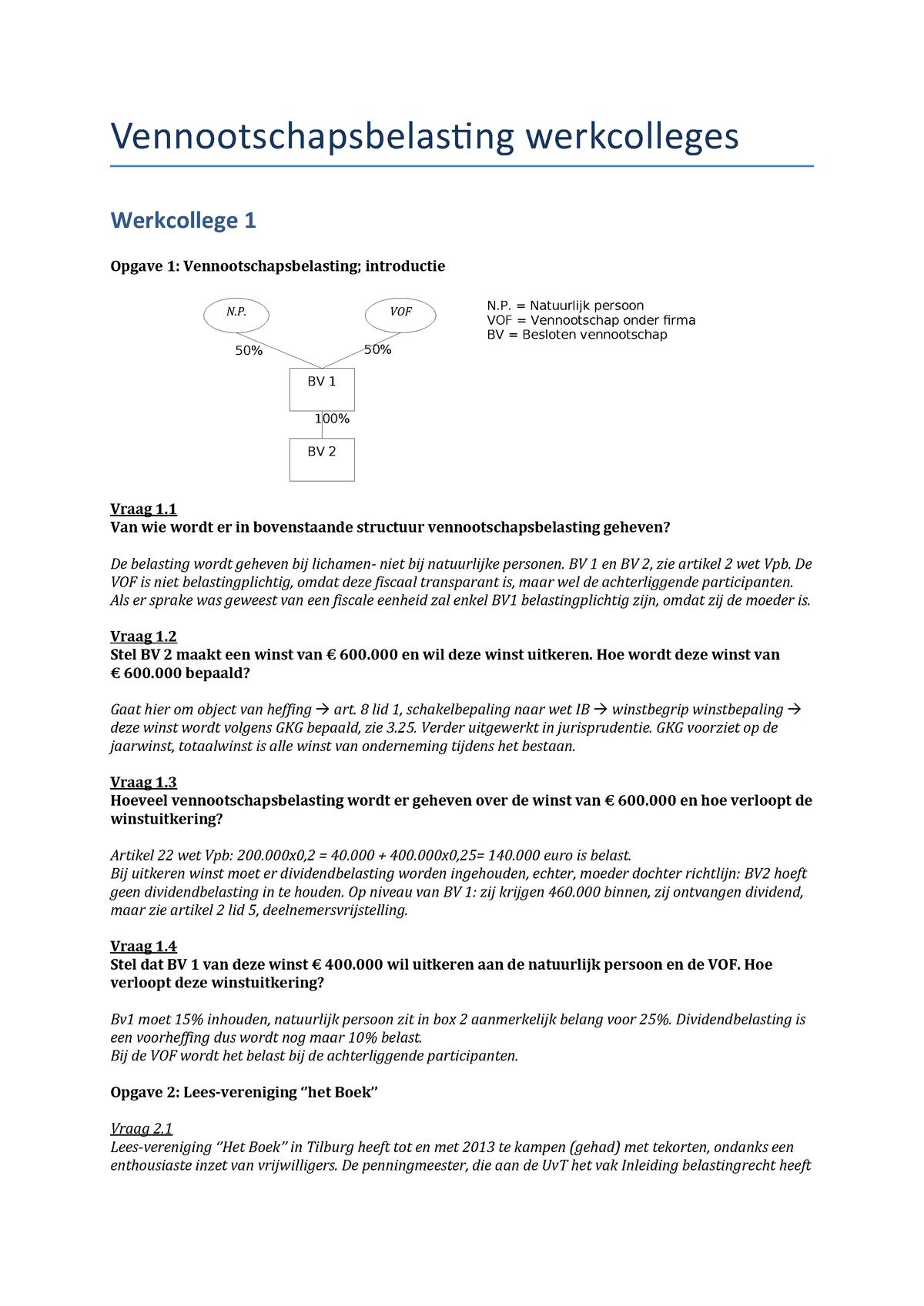 Wel Of Geen Bv.Werkgroep Uitwerkingen 1 8 695231 Studeersnel