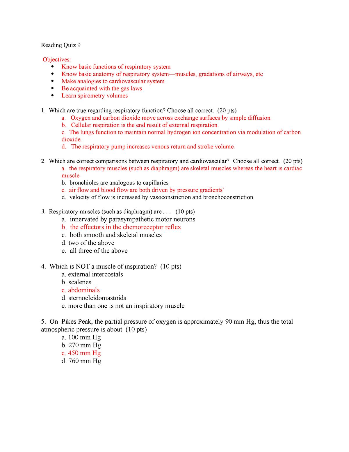 RQ9 Blank Spr 18 - RQ 9 - BIOL 3345 Human Physiology - StuDocu