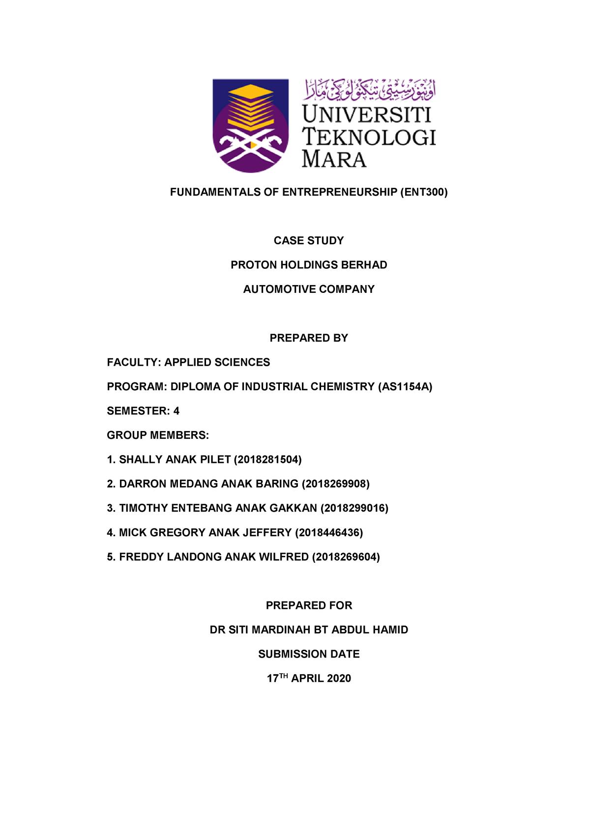 Case Study Report Entrepreneurship Uitm Studocu