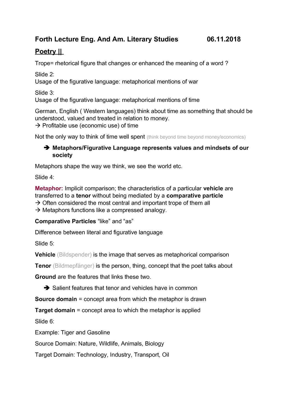 4 Vorlesung - Notes English and American Literature Studies