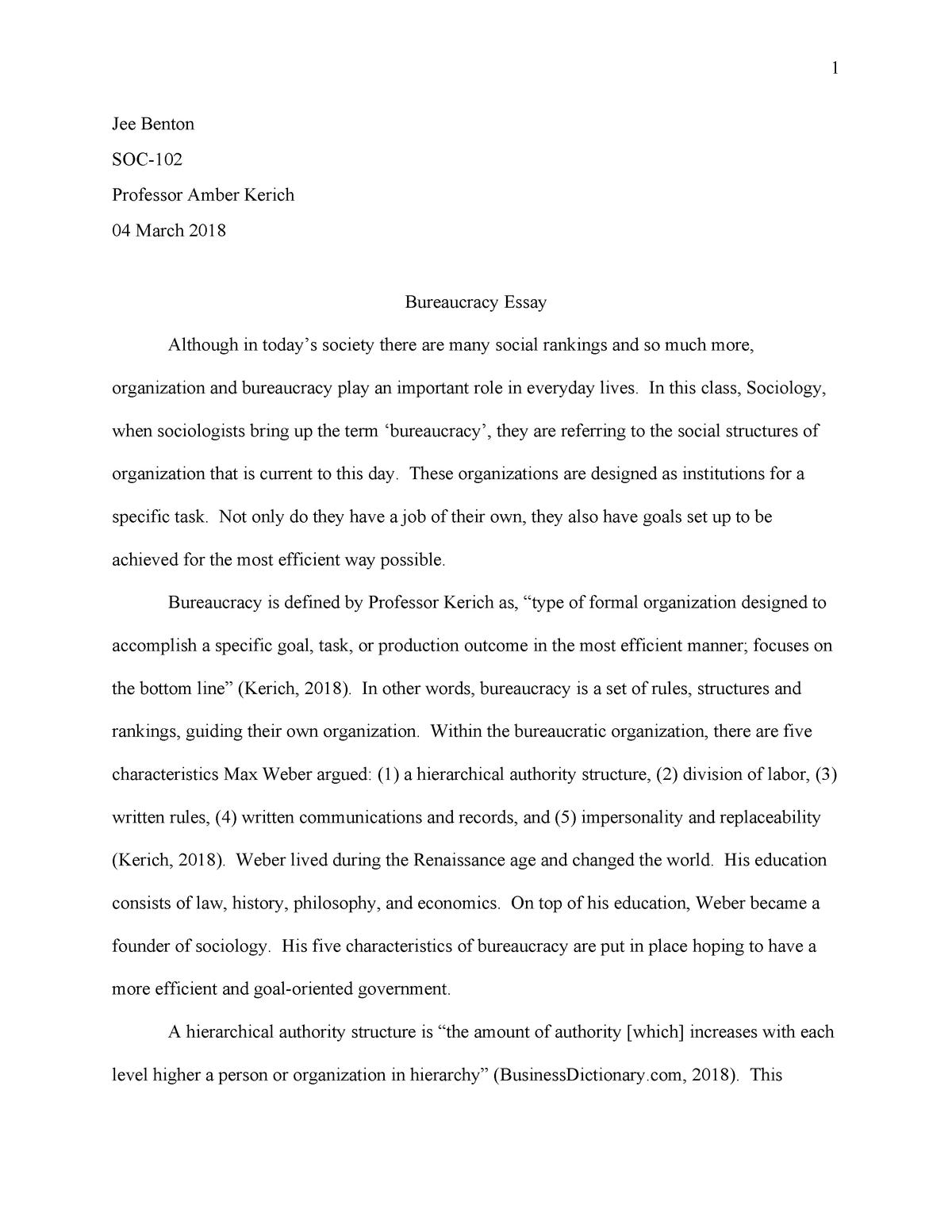 bureaucracy essay   soc    soc  principles of sociology   studocu