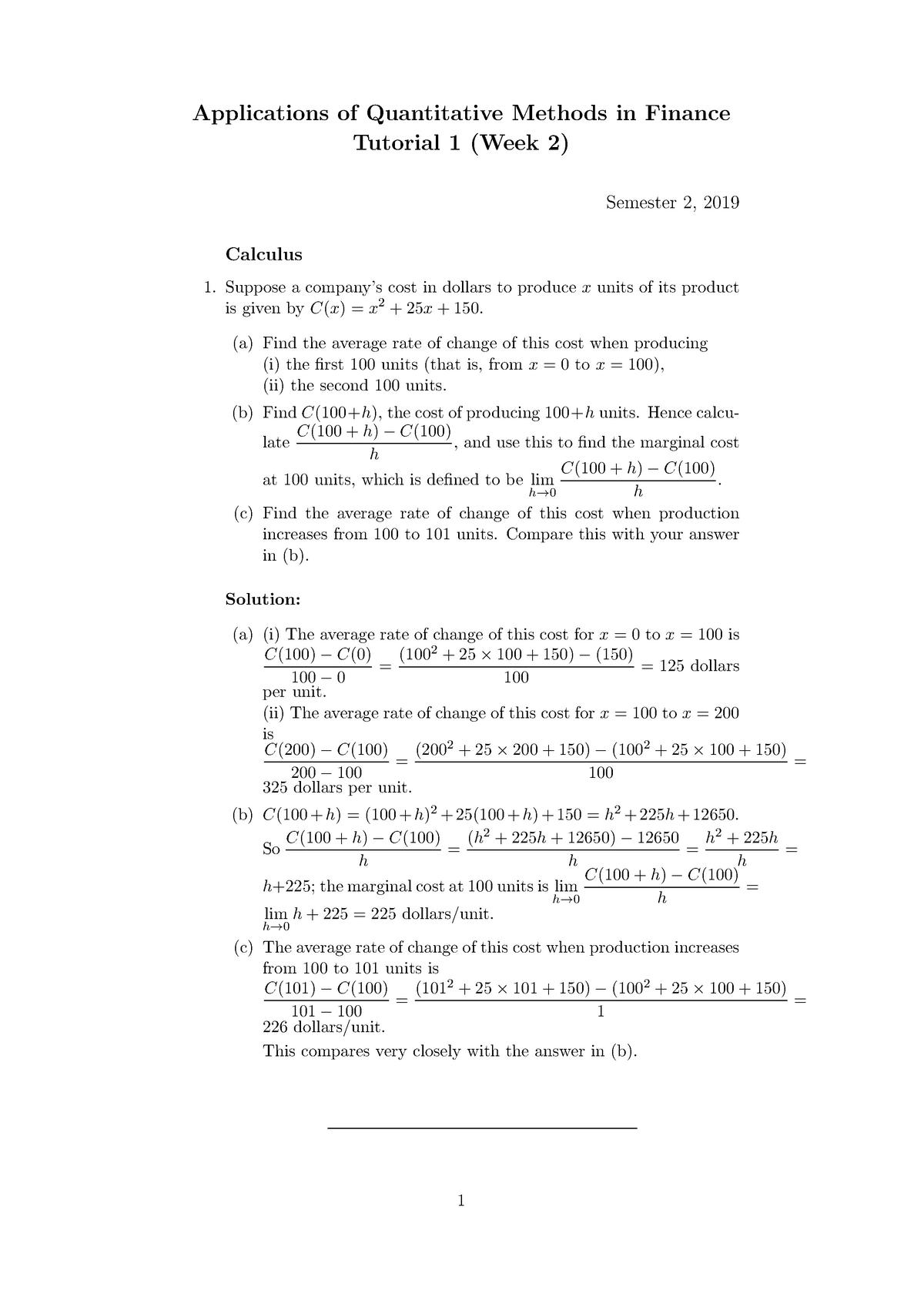 Aqmf aqmf 2019 s2 tutorial 1 sol - maths 1010 - studocu