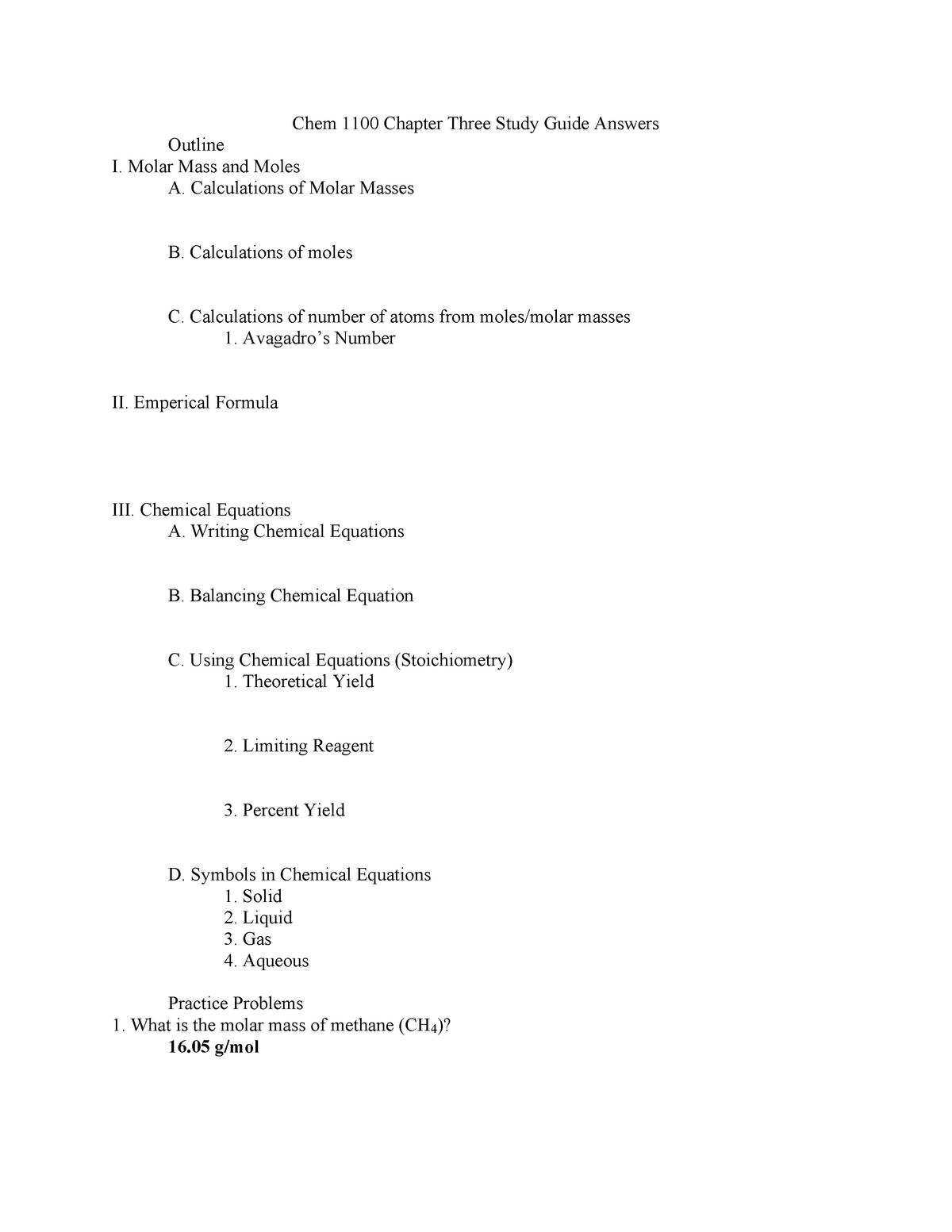 Chem 1100 study guide answers ch 3 - CHEM 1100 - WMU - StuDocu