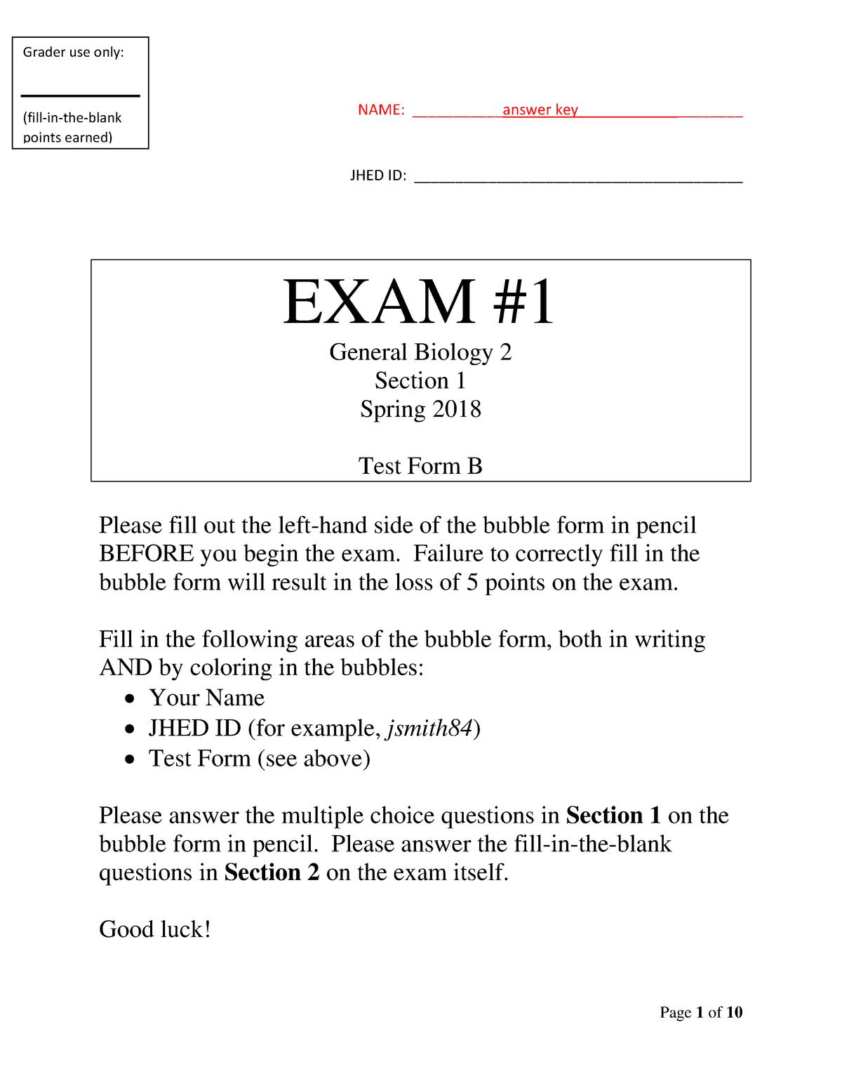 Exam 2018 - AS 020 151 : General Biology I - StuDocu
