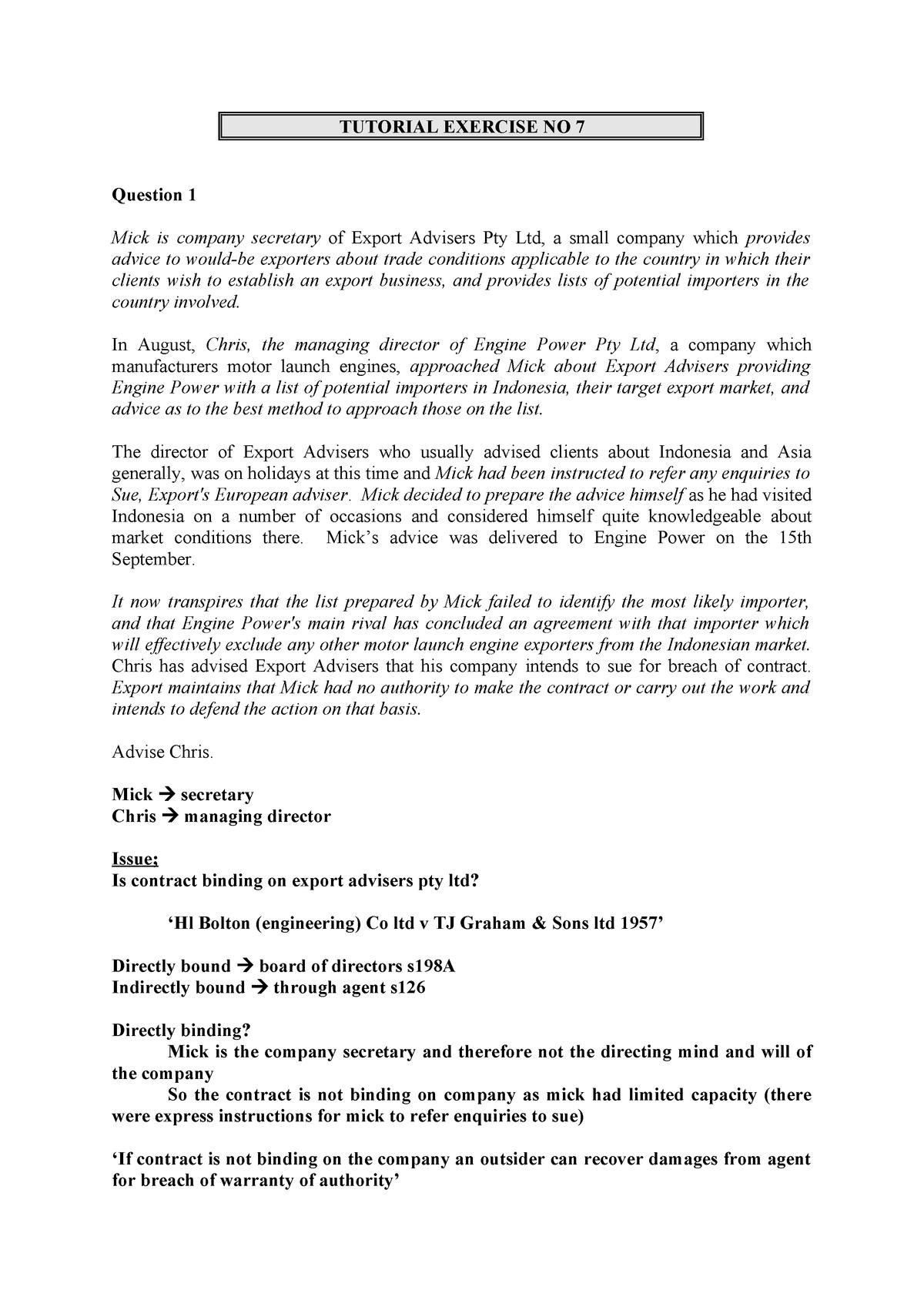 Tute Ex 7 - tutorial 7 - LAWS2301 : Company Law - StuDocu