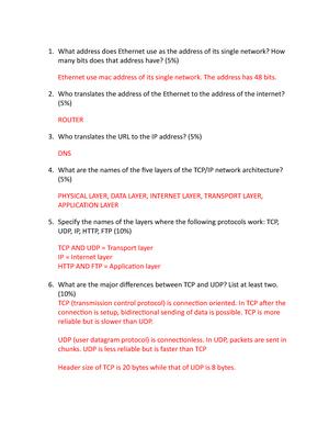 Homework 2 - Week 2 - COSC 2670: Telecommunications - StuDocu