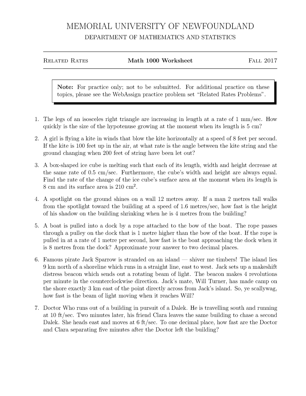 Worksheet on Related Rates Problems - Math 1000 Calculus I