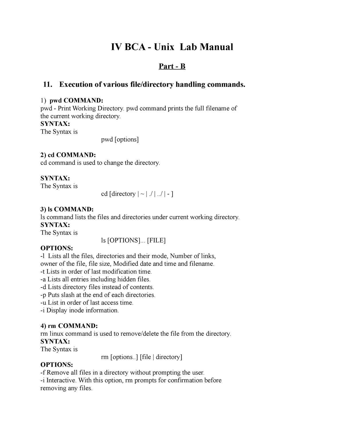 Unix Lab Manual BCA Part B - UNIX Programming BCA406 - StuDocu