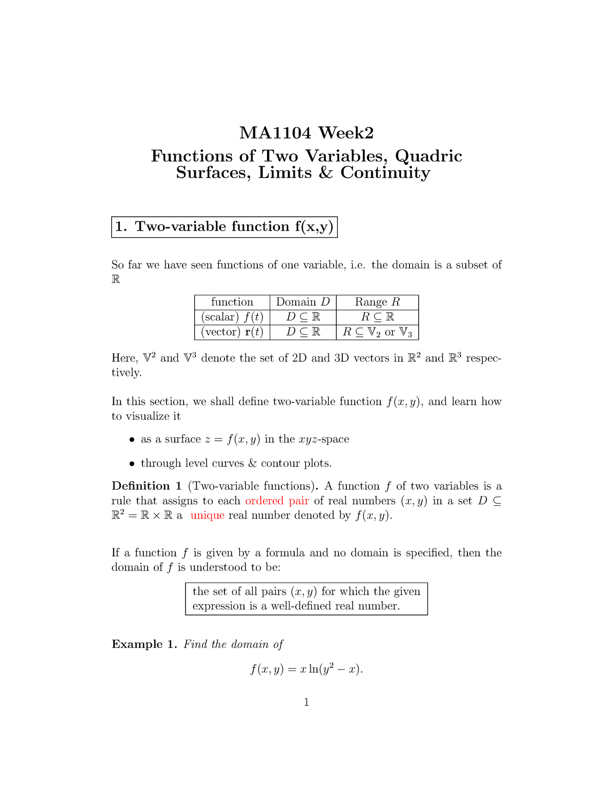 Week 02 Lecture Notes Printed - MA1102R: Calculus - StuDocu