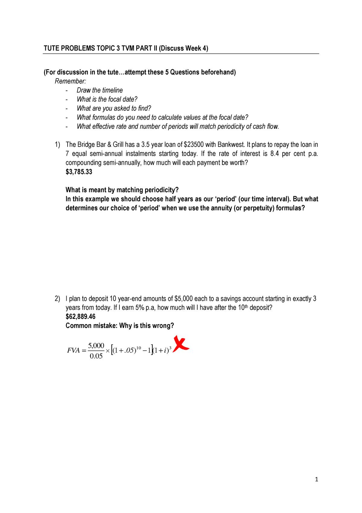 Tutorials Topics 2 12 Acst101 Finance 1a Studocu
