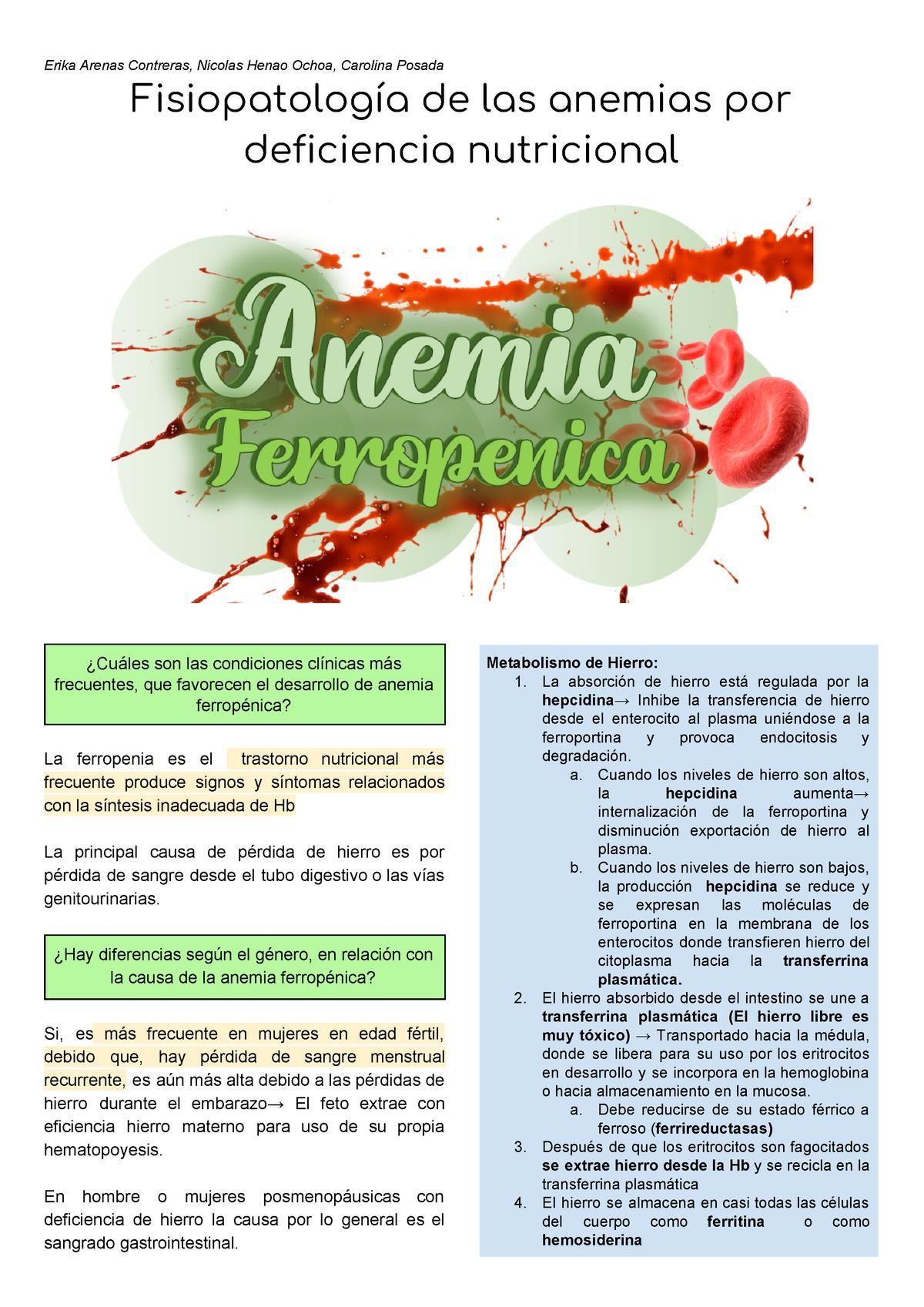 que produce la anemia ferropenica