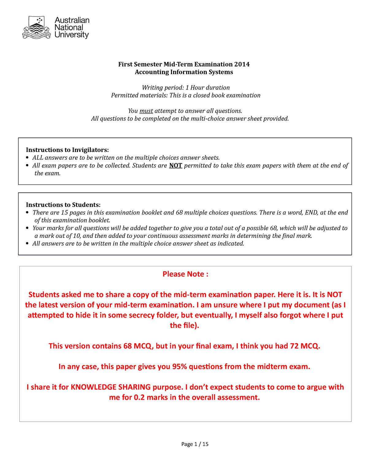 Sample/practice exam 2015, questions and answers - Mid-term