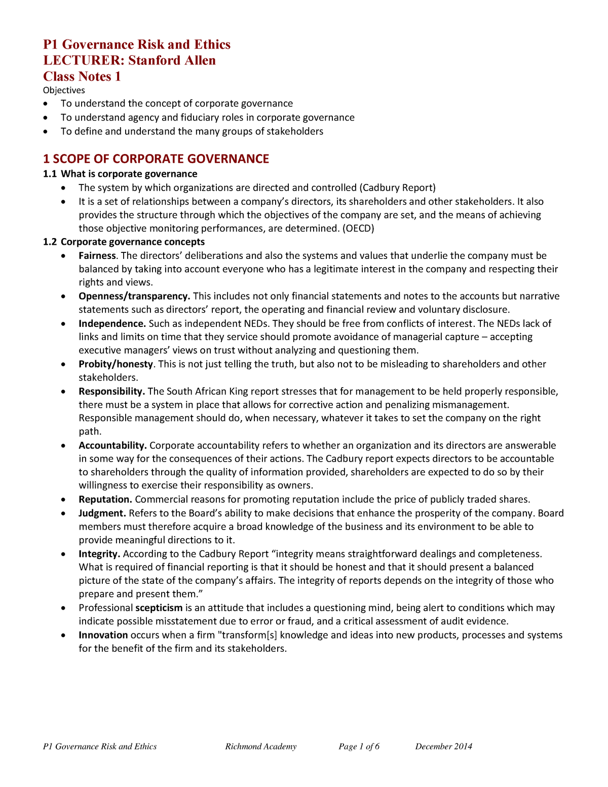 corporate governance law notes